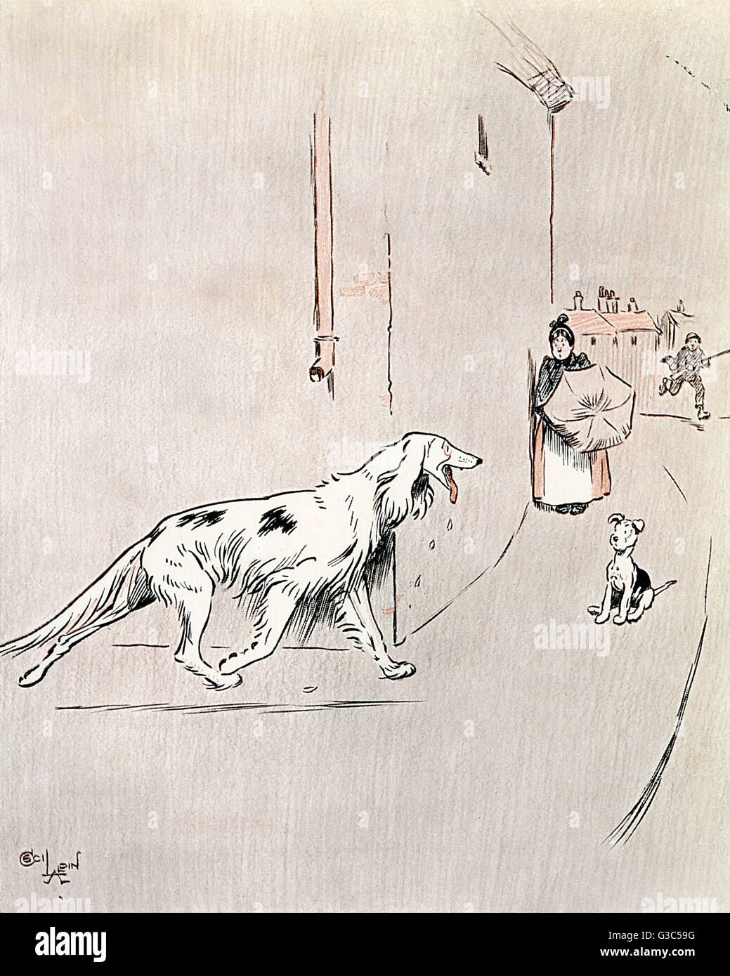 Illustration, The Dogs of War -- One hot summer's day the Looney lost such little reason as he had.  Showing - Stock Image
