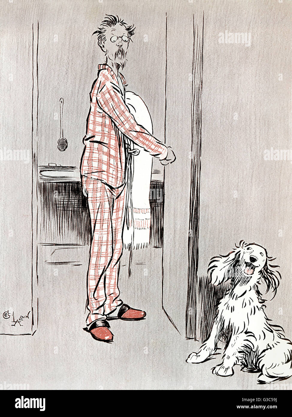 Illustration, The Dogs of War -- Believe me, humans are not very fine fellows then.  Showing a spaniel commenting - Stock Image