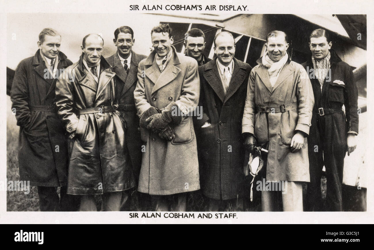 Sir Alan John Cobham (1894-1973), English aviation pioneer (third from right), and staff (known as the Flying Circus), - Stock Image