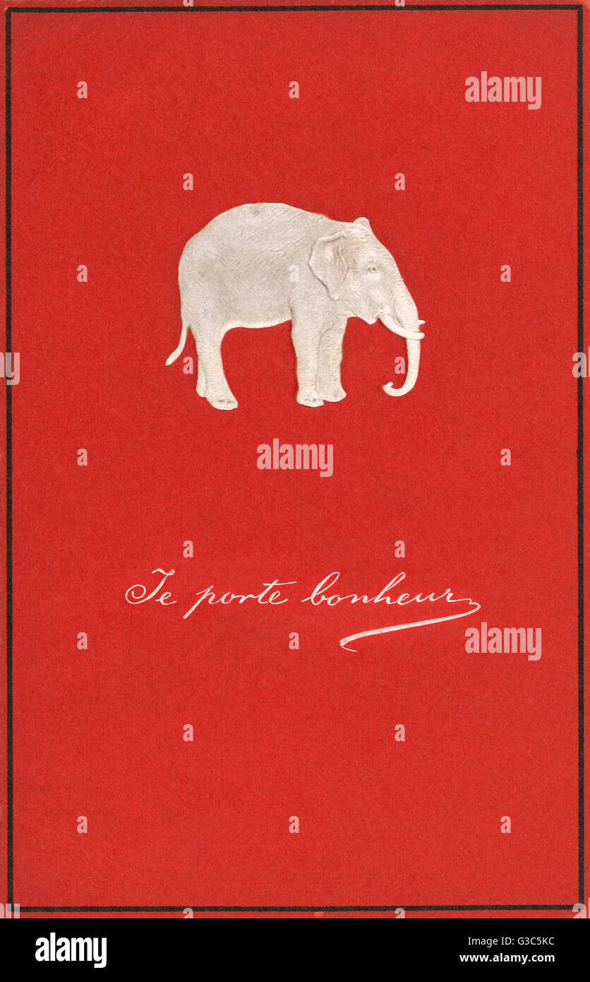 Embossed French greetings card, featuring a white elephant on a red background.     Date: circa 1910s - Stock Image