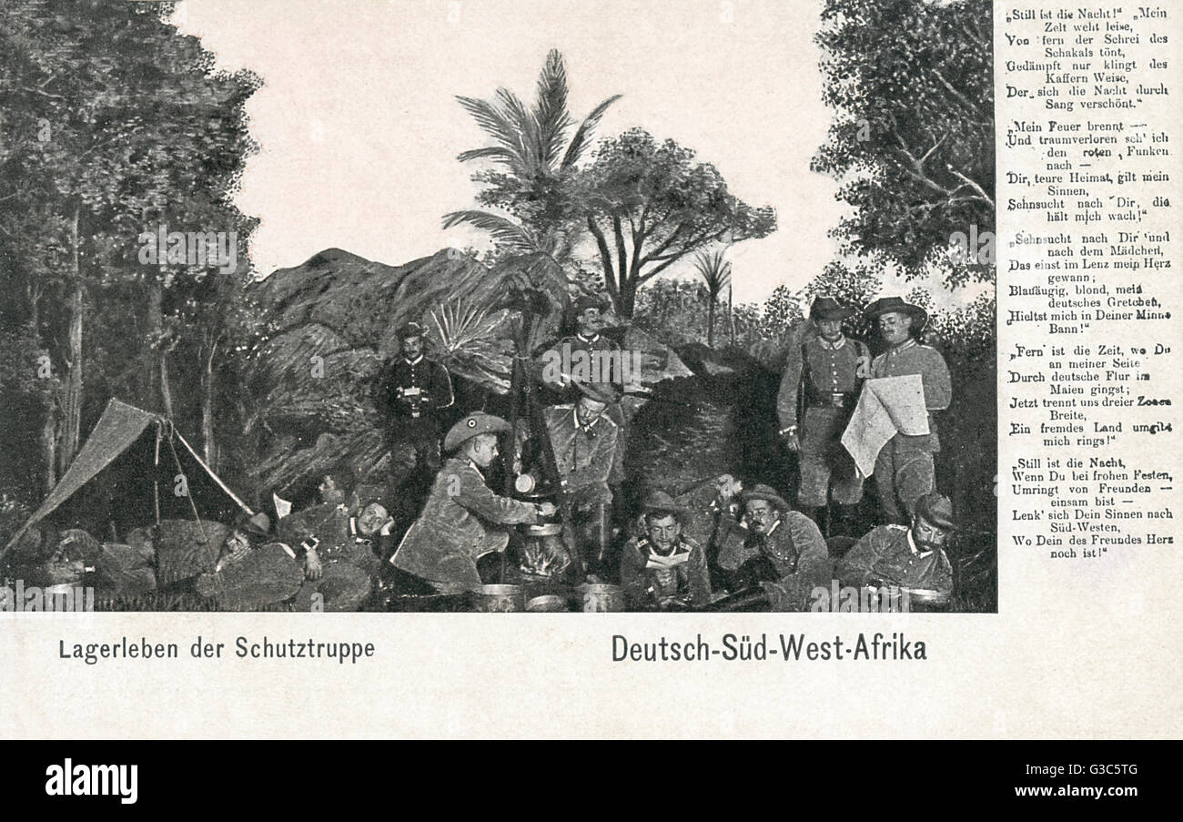 German protection force in camp, German south west Africa (now Namibia).      Date: circa 1903 - Stock Image