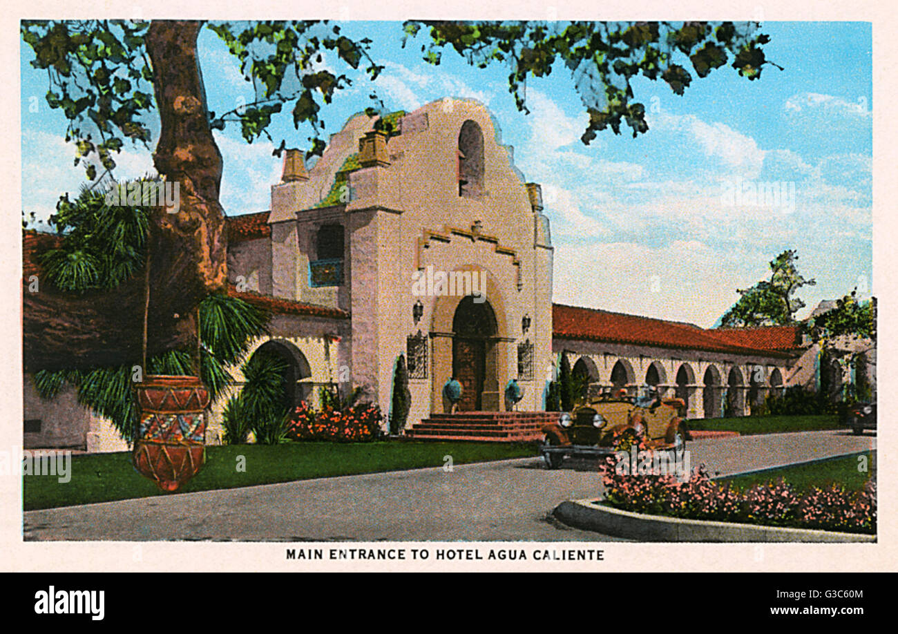 Main entrance to the hotel at Agua Caliente, a popular leisure centre in Tijuana, Mexico.      Date: 1930 - Stock Image
