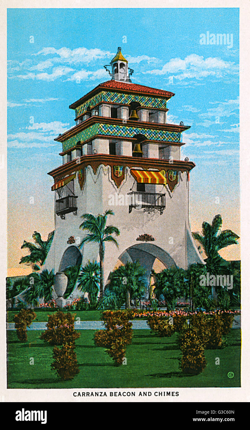 Carranza beacon and chimes at Agua Caliente, a popular leisure centre in Tijuana, Mexico.      Date: 1930 - Stock Image