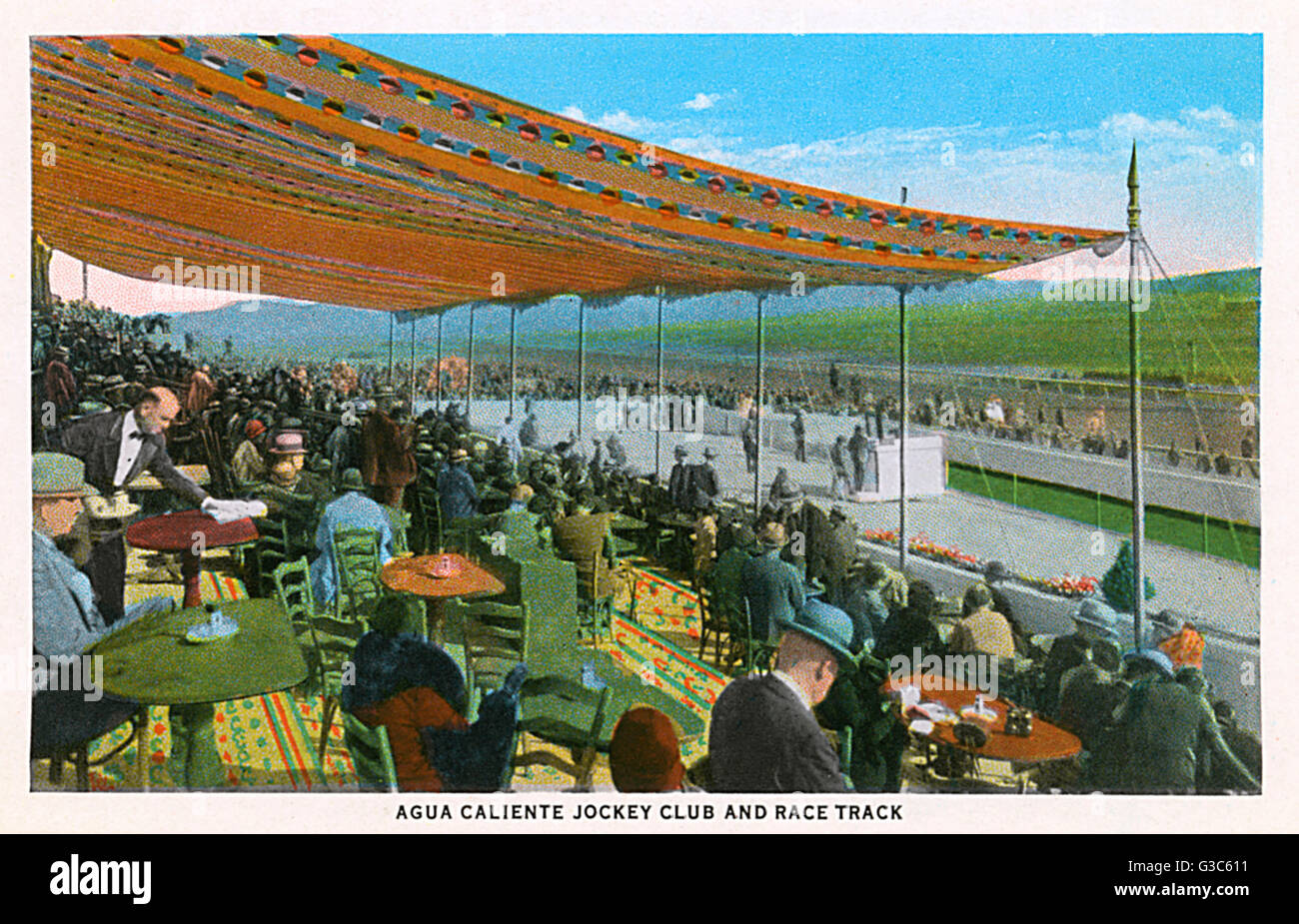 Jockey Club and racetrack at Agua Caliente, a popular leisure centre in Tijuana, Mexico.      Date: 1930 - Stock Image