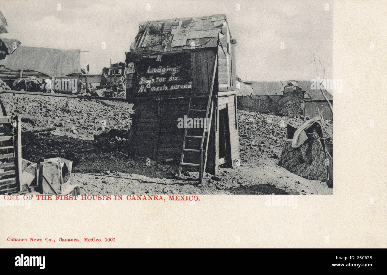 Primitive house (actually a small shed) in Cananea, a copper mining town in Sonora, Mexico.      Date: circa 1905 - Stock Image