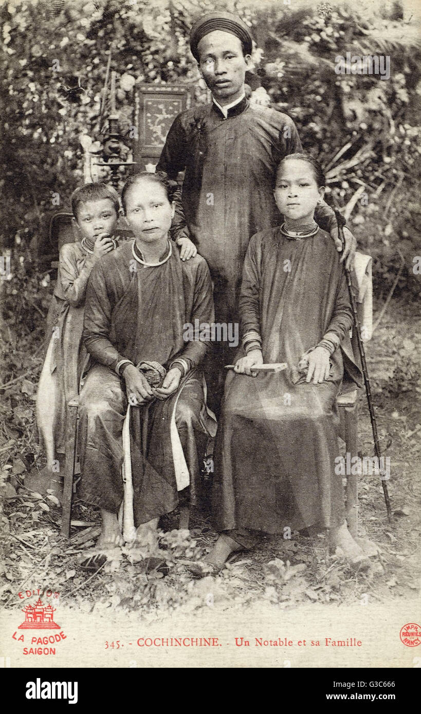 Vietnam - A notable local official and his family     Date: circa 1905 - Stock Image