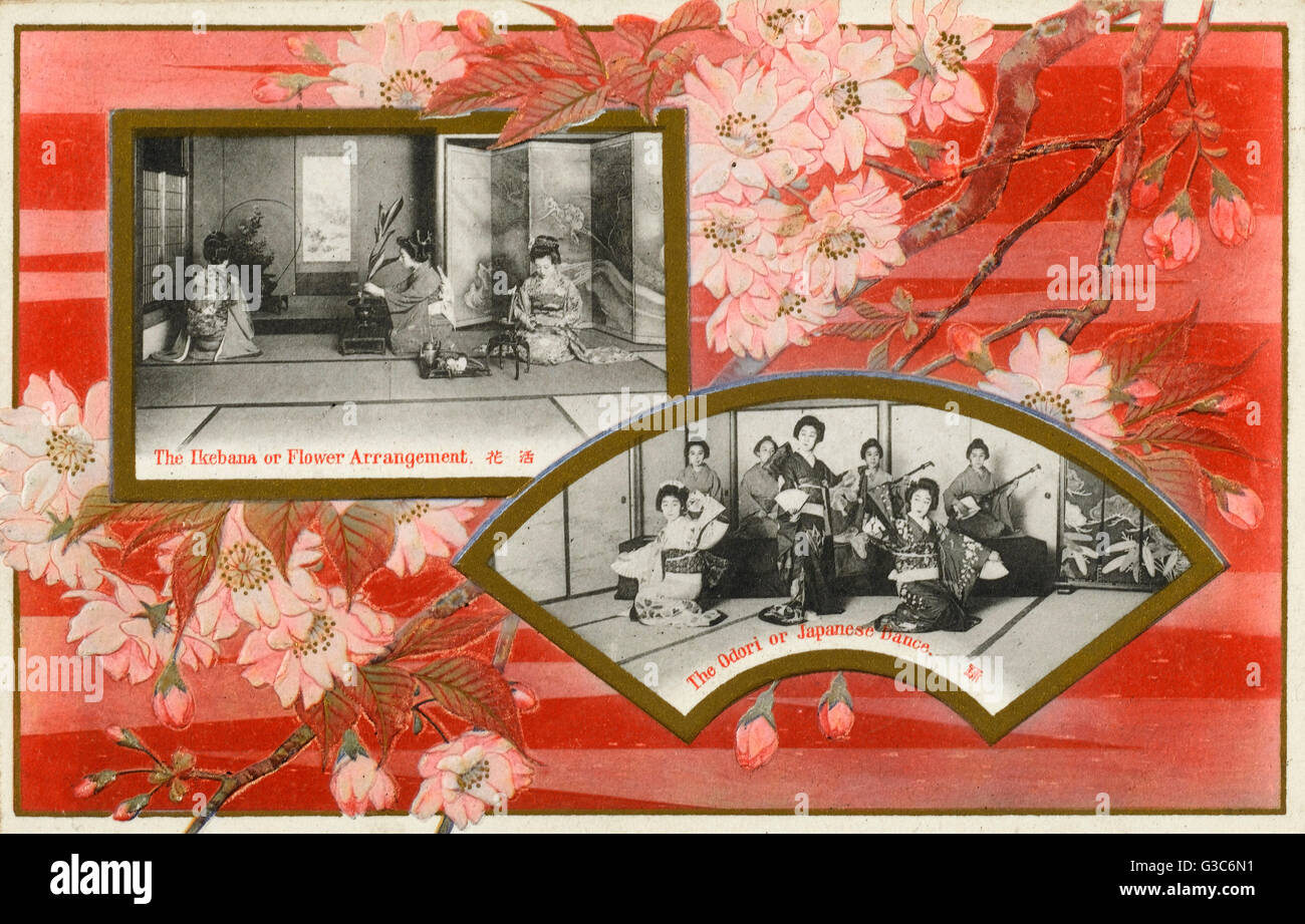 Japan - Flower Arranging and Japanese Dancing - decorative surround.     Date: circa 1910s Stock Photo