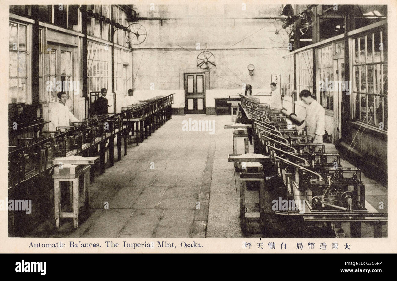 Japan - The Imperial Mint at Osaka - The Automatic Balances.     Date: circa 1910s - Stock Image