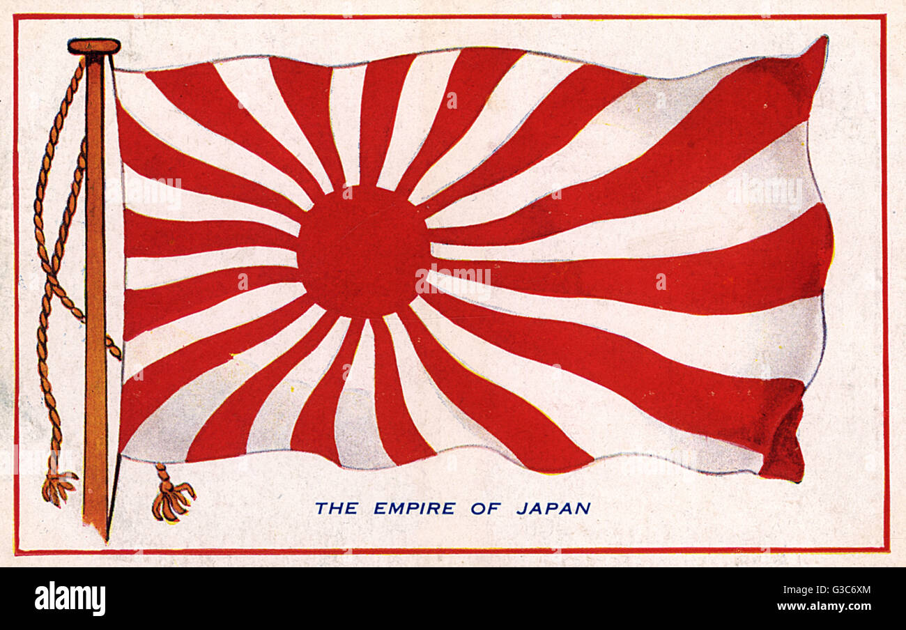 The Rising Sun flag of the Empire of Japan.     Date: circa 1910s - Stock Image
