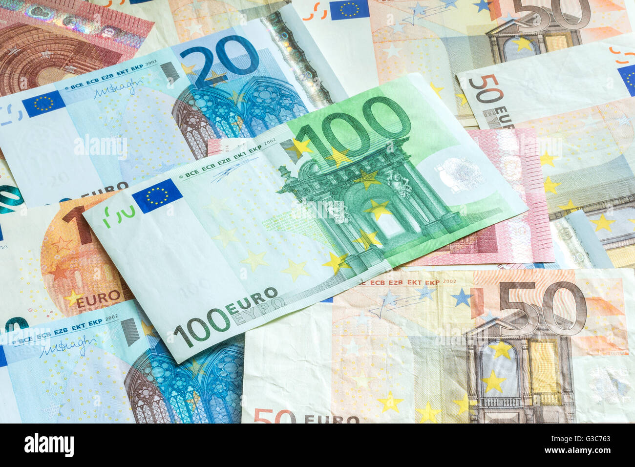 European Union Euro currency banknote close-up - Stock Image