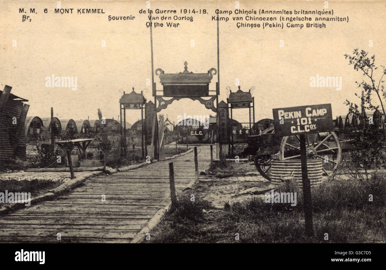 WW1 - Pekin Camp - Camp for The Chinese Labour Corps on the Western Front. The camp was near The Kemmelberg (also - Stock Image