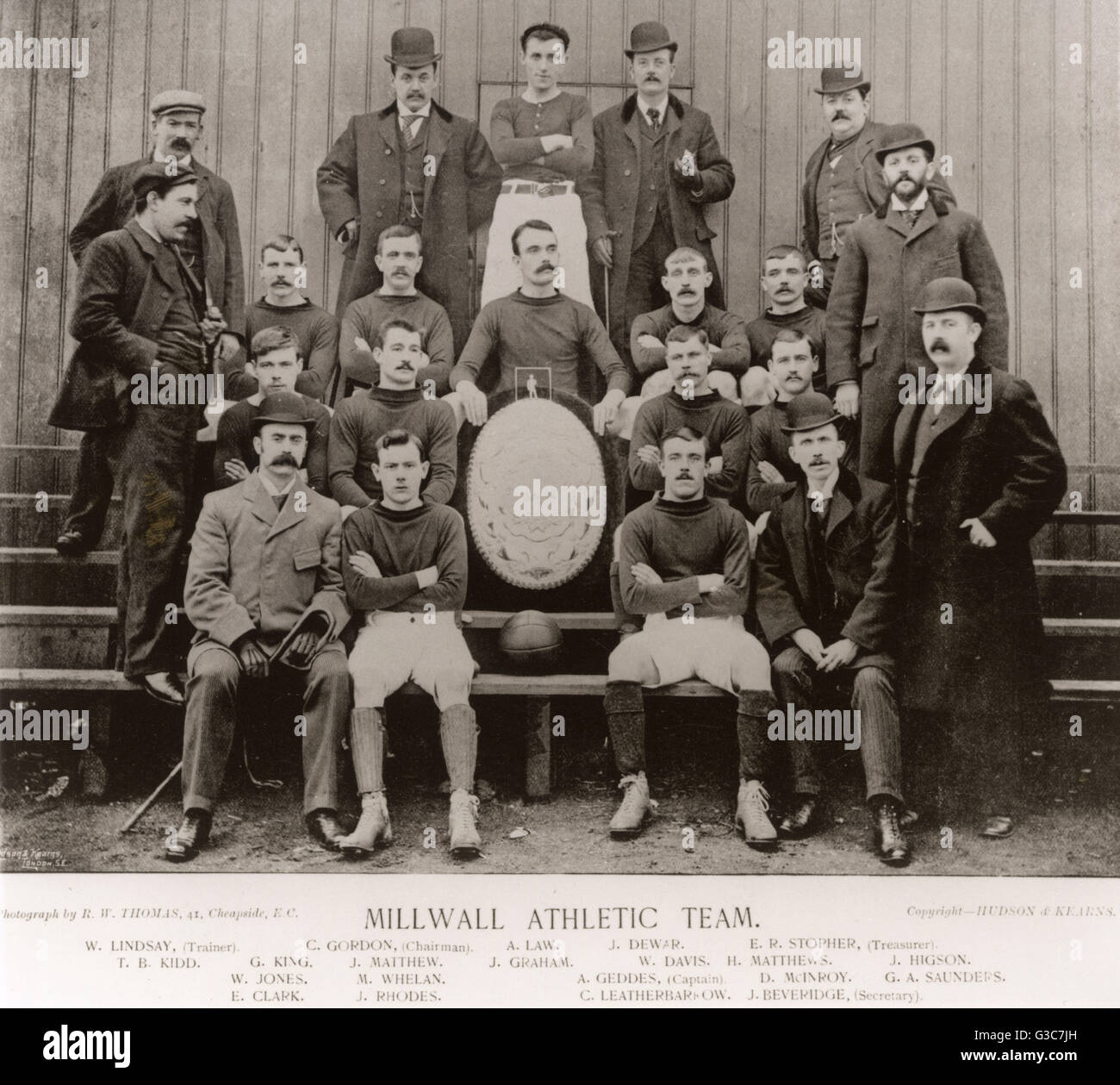 Millwall Athletic football team for the 1895-1896 season, including Chairman, Treasurer, Secretary and Trainer, - Stock Image