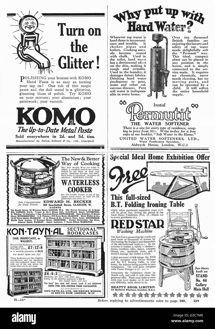 A page of advertisements from Good Housekeeping magazine, 1928. Included are advertisements for Komo, the up to - Stock Image