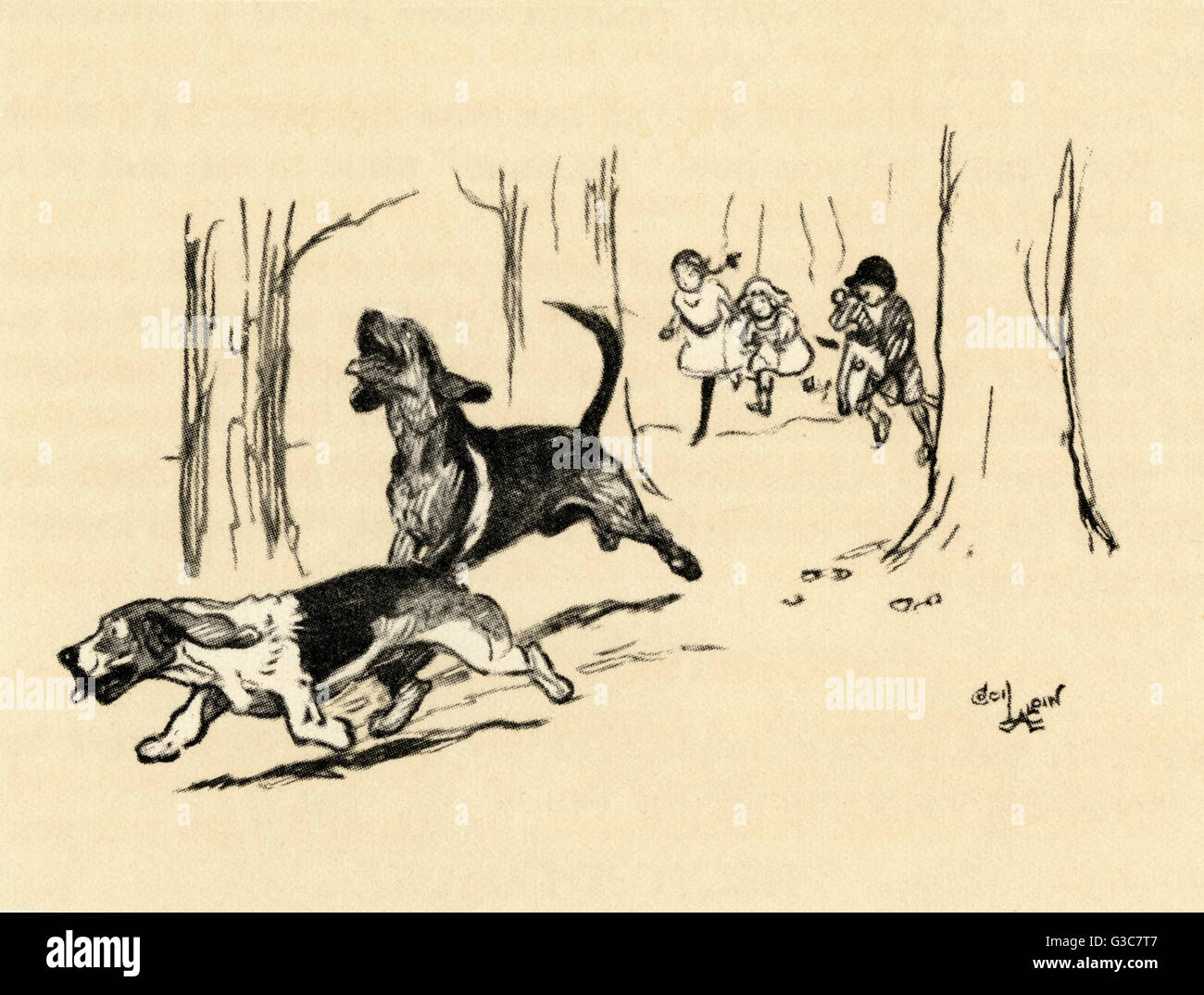 Illustration by Cecil Aldin -- Hunting the Criminal, a popular game played by Aldin's children and two dogs, - Stock Image