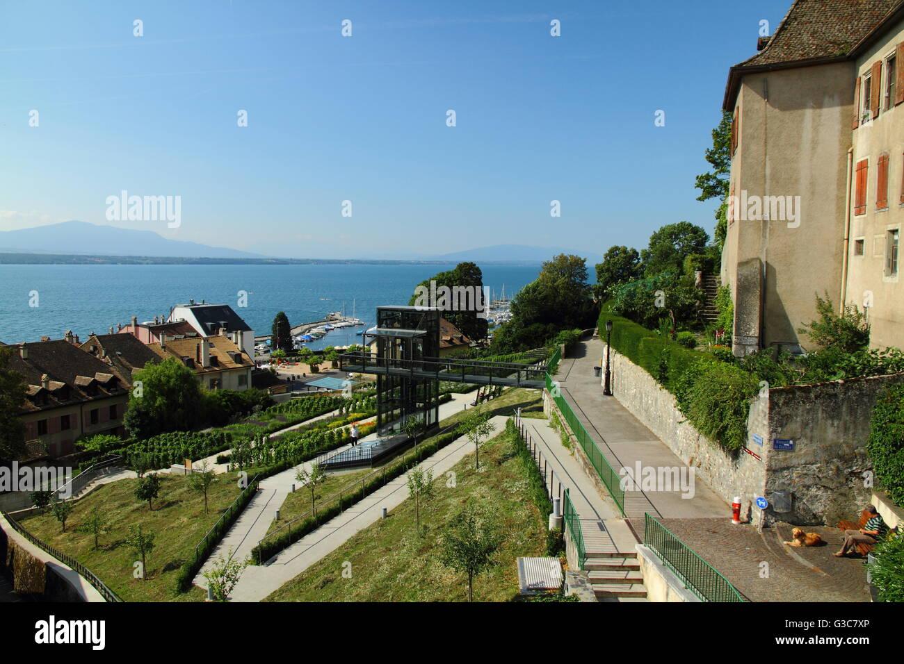 View on Geneva lake from Nyon - Stock Image