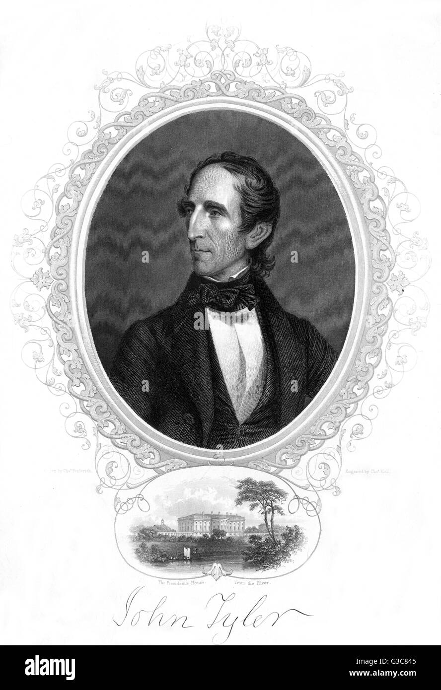 JOHN TYLER President of the United States         Date: 1790 - 1862 - Stock Image