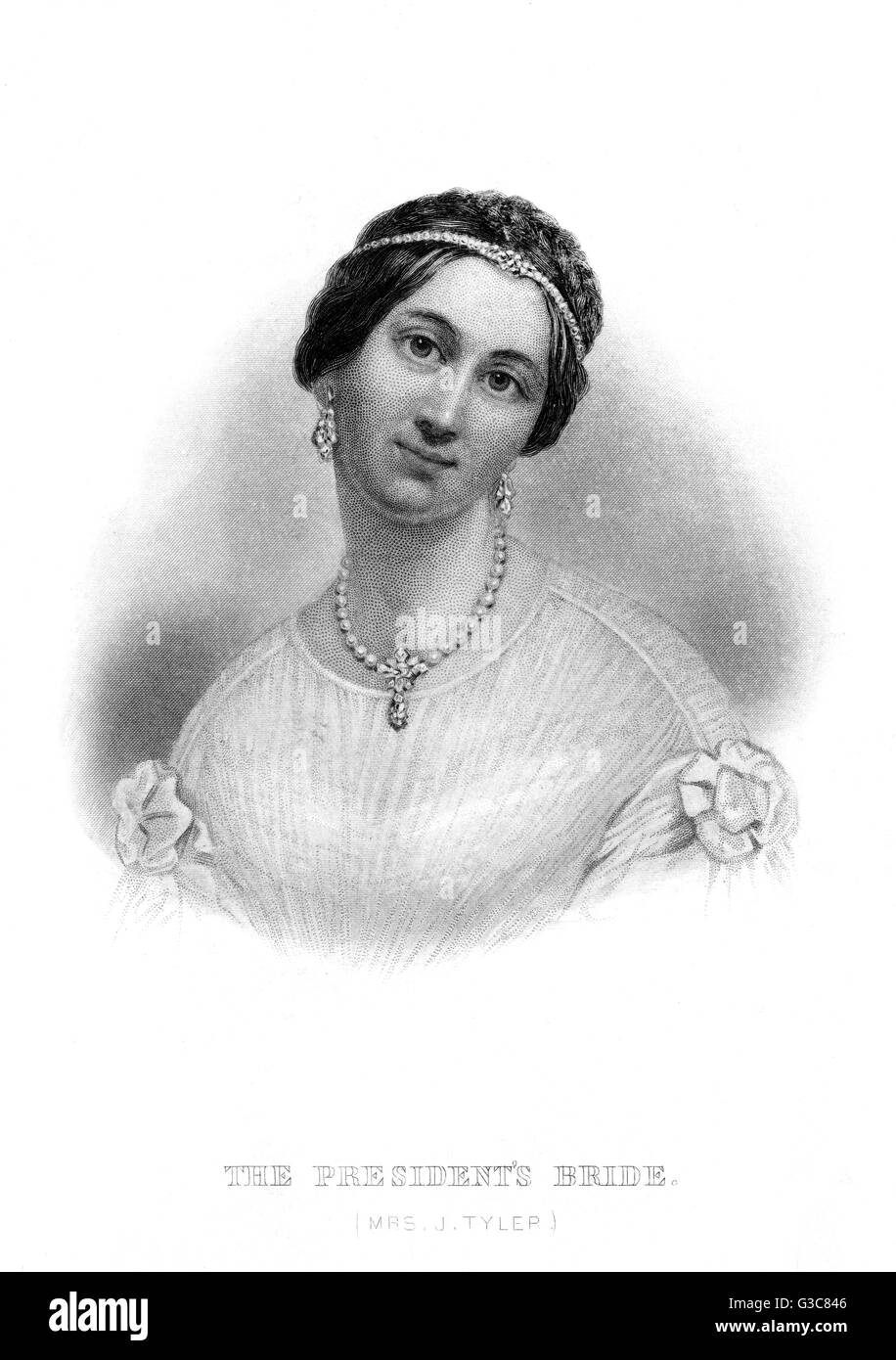 MRS TYLER wife of the President of the  United States        Date: CIRCA 1840 - Stock Image
