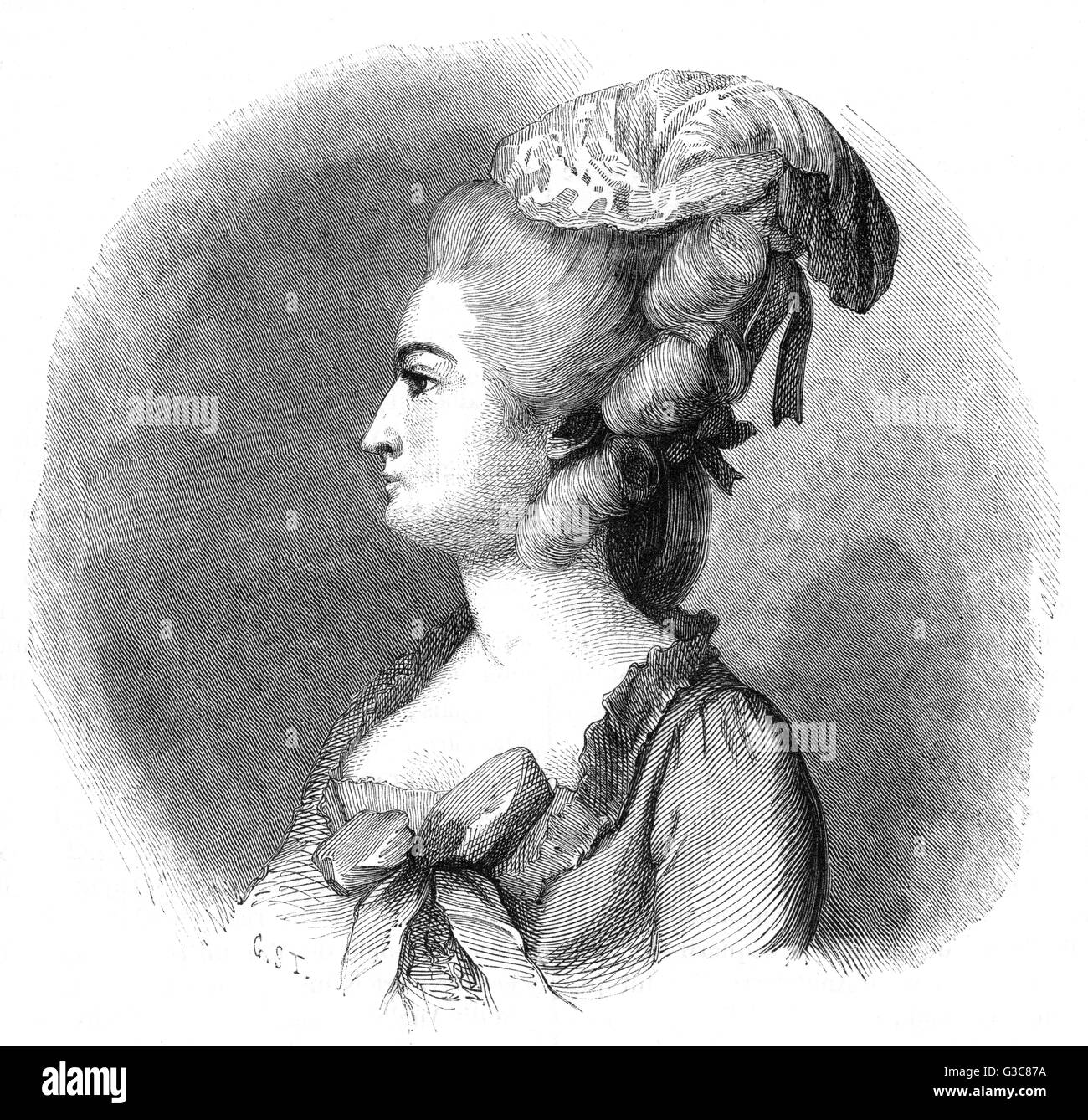 ANNE VALLAYER-COSTER French artist, received into  the Academie Francaise in  1770.       Date: CIRCA 1770 - Stock Image