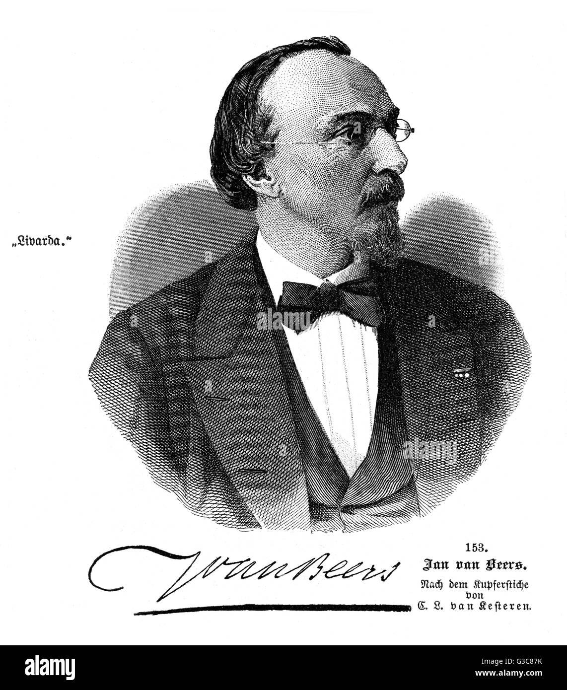 JAN VAN BEERS Belgian writer  with his autograph       Date: 1821 - 1888 - Stock Image