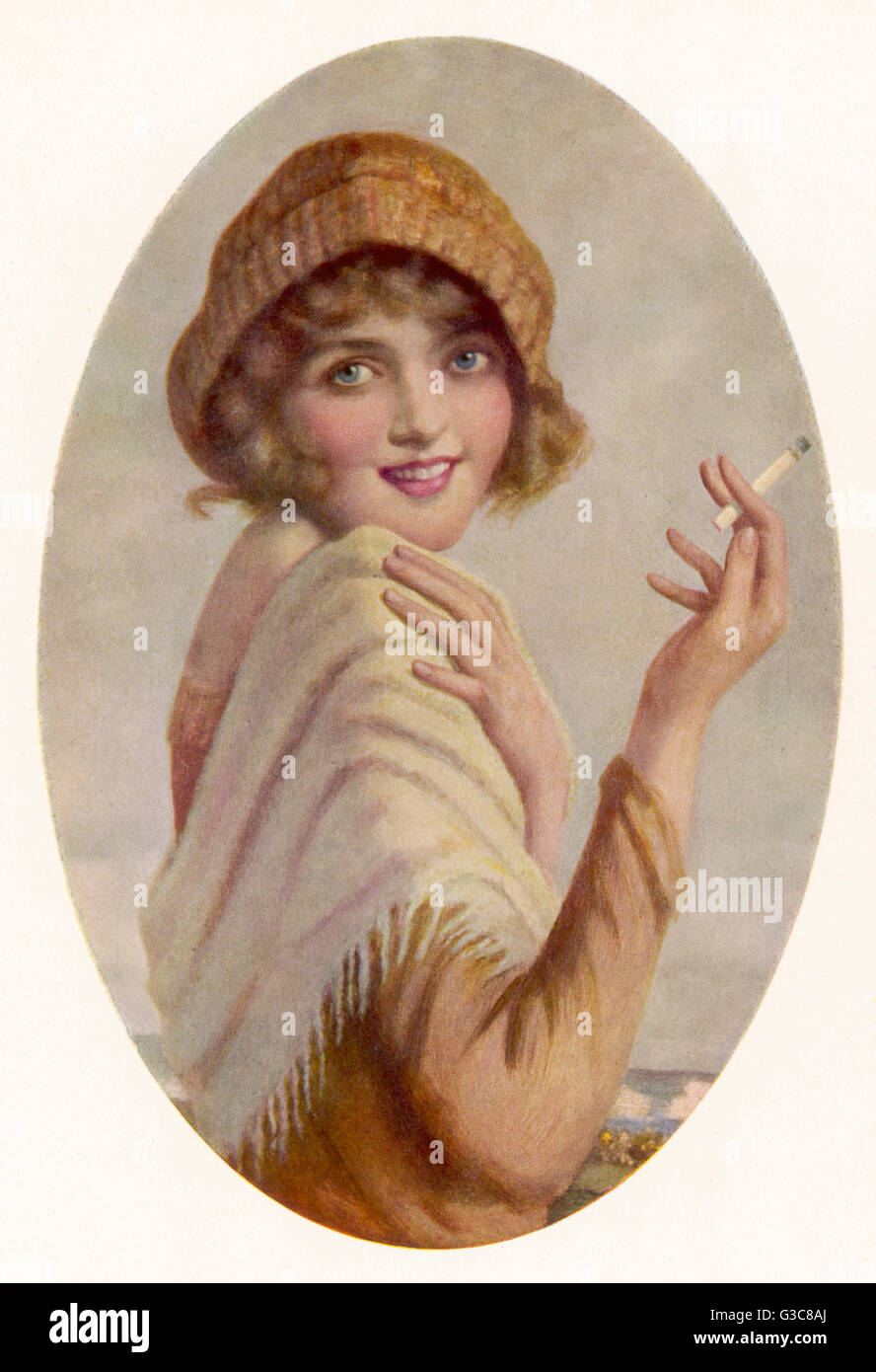 A young woman smokes a Wills' Gold Flake cigarette.      1930 - Stock Image