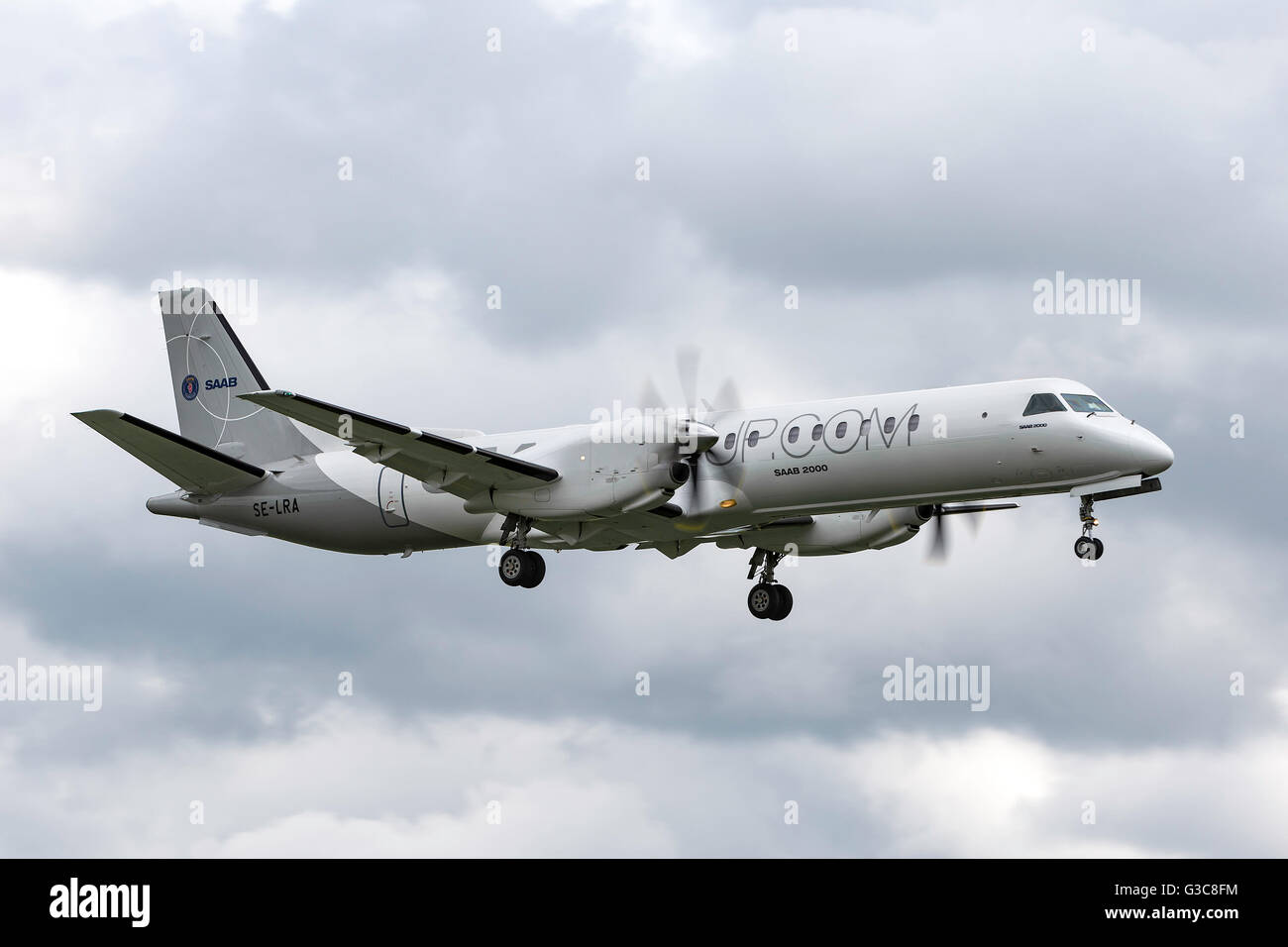 Saab 2000 SE-LRA twin-engined high-speed turboprop airliner built by Saab. - Stock Image