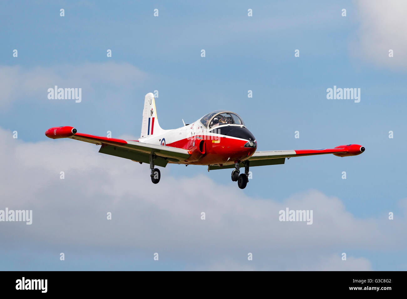 Former Royal Air Force (RAF) BAC Jet Provost T4 jet training aircraft G-BWSG Stock Photo