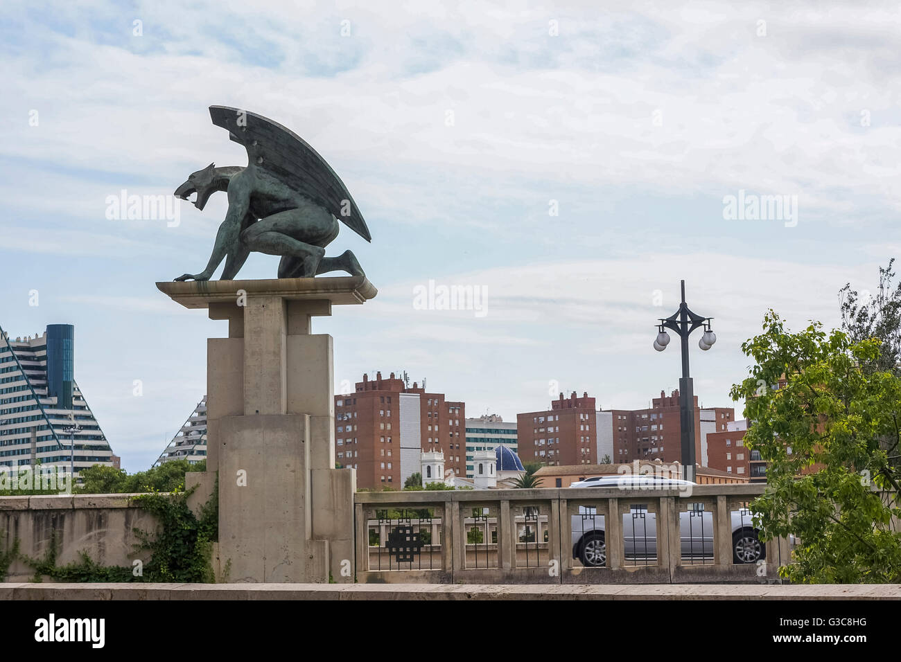 Gargoyle sculpture, Puente del Rain bridge, Valencia, Spain, Europe - Stock Image