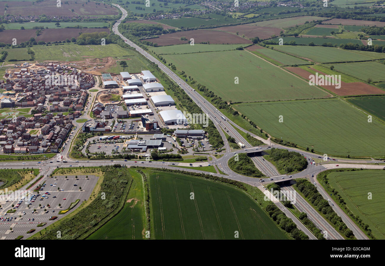 aerial view of the A46 heading south west past Leicester towards the M1, Extra Service Area, Leicestershire, UK - Stock Image