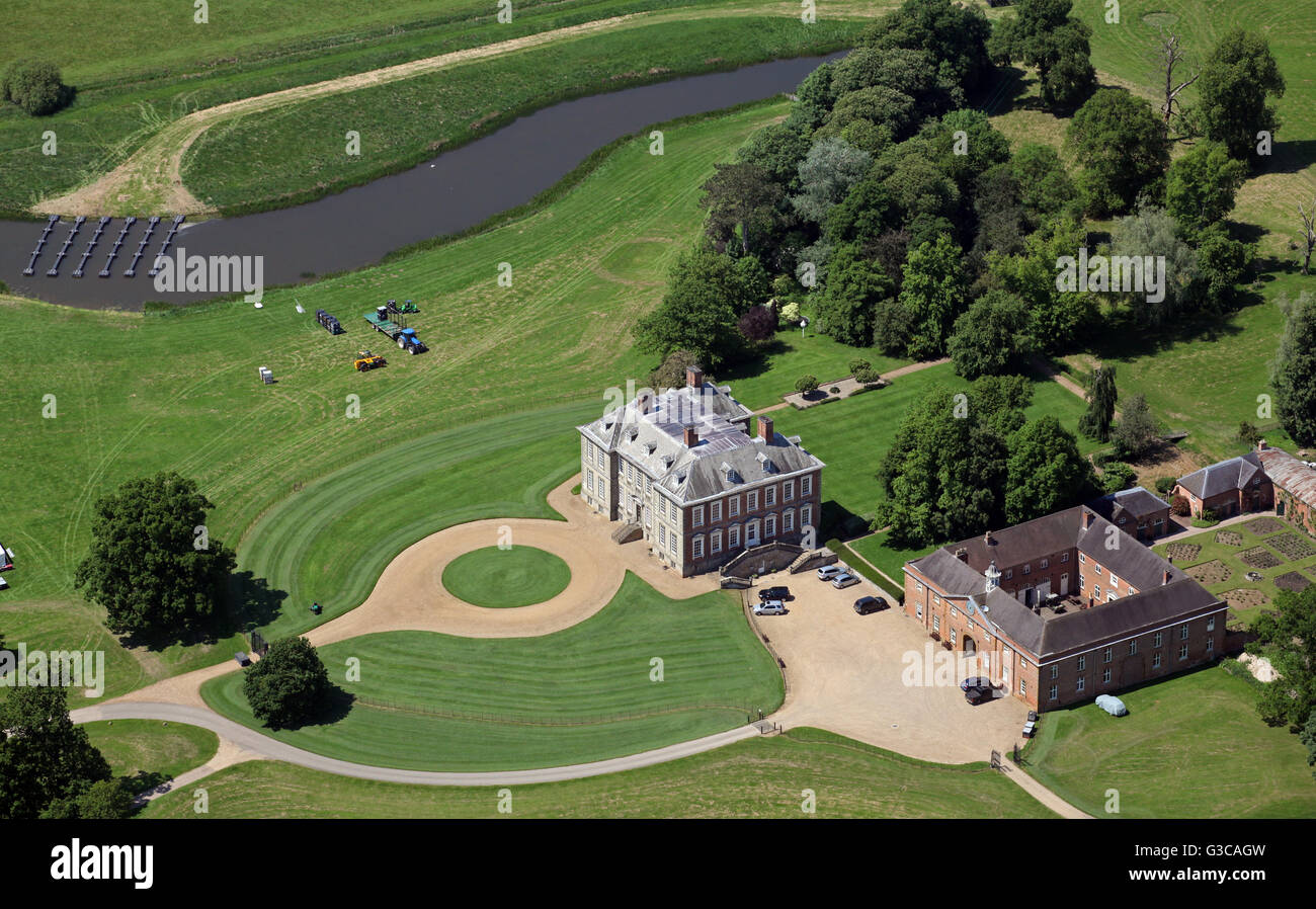 aerial view of Stanford Hall near Stanford-upon-Avon, Leicestershire, UK - Stock Image
