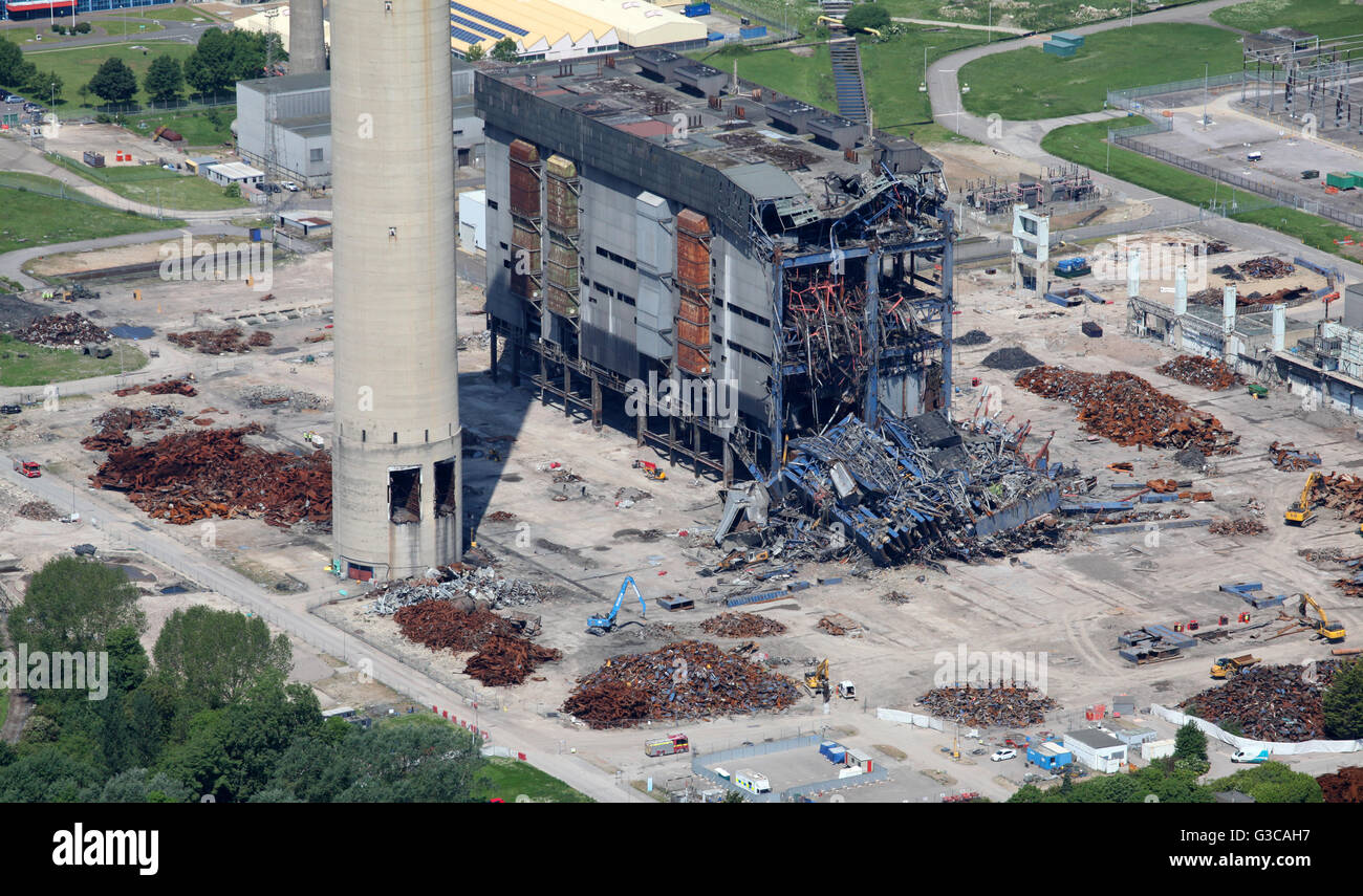 aerial view of Didcot Power Station in Oxfordshire, including the collapsed boiler house which killed 3 workers - Stock Image