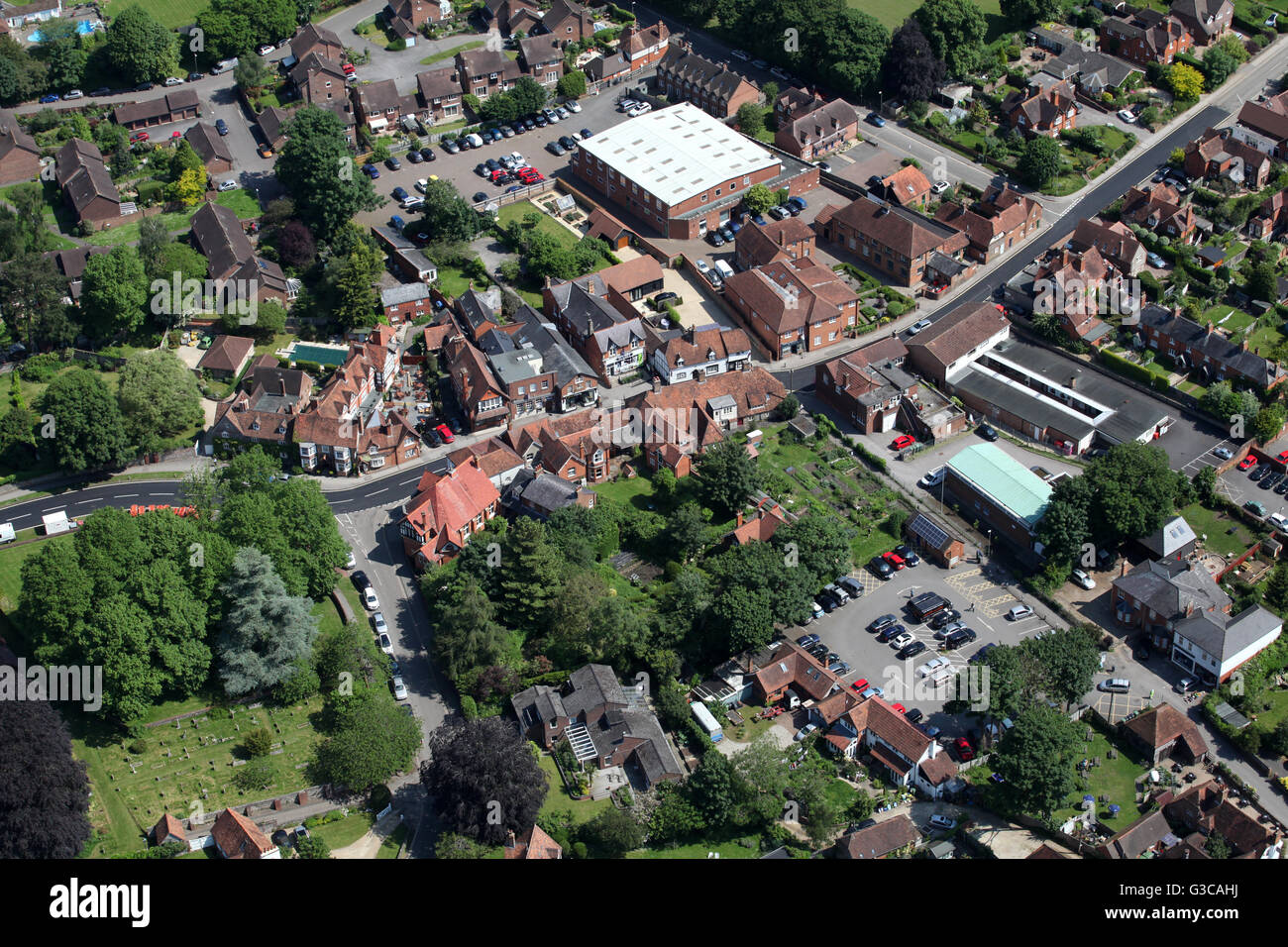 aerial view of Goring-on-Thames in Oxfordshire, UK - Stock Image