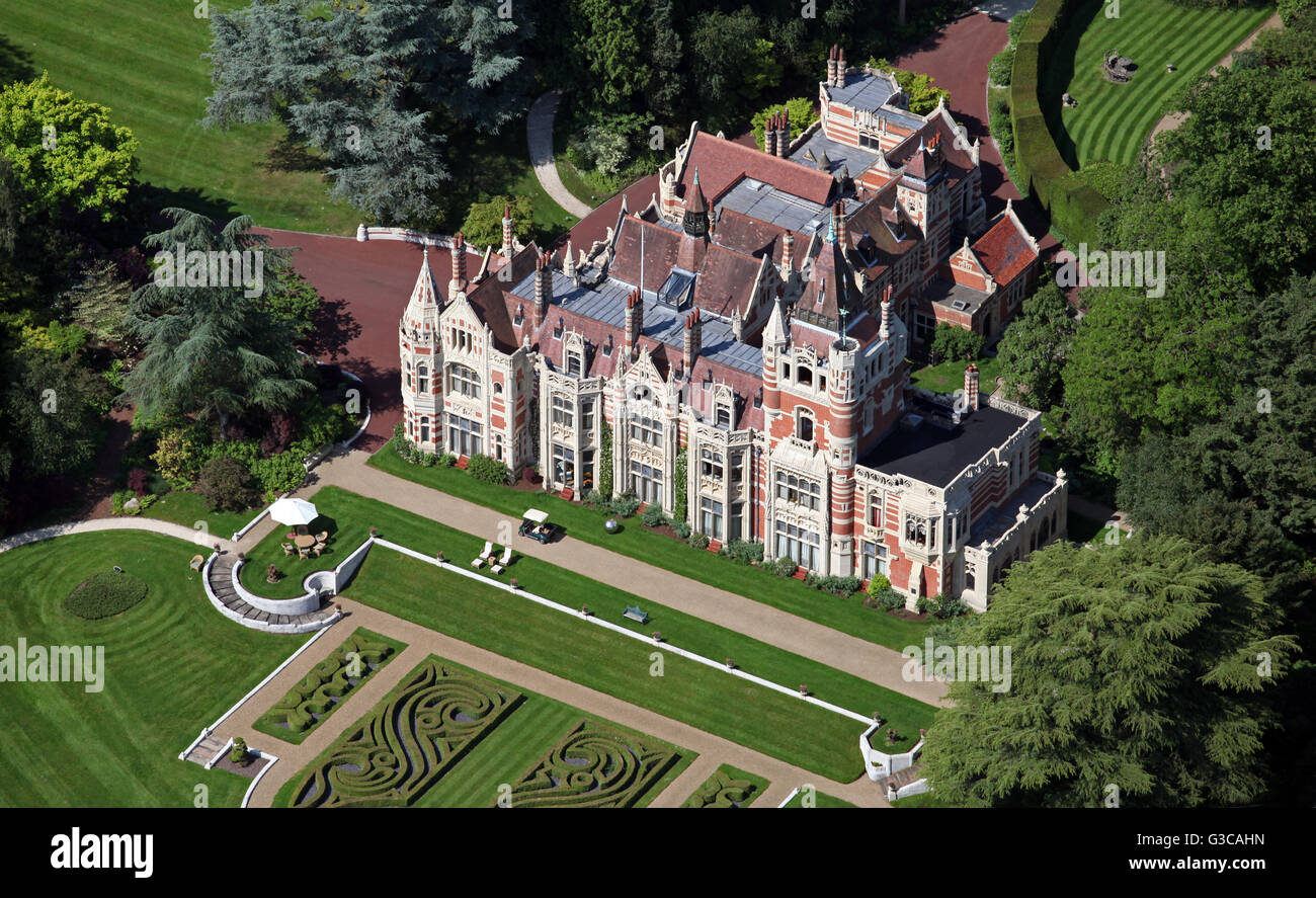 aerial view of Friar Park in Henley-on-Thames, once owned by George Harrison, Oxfordshire, UK - Stock Image