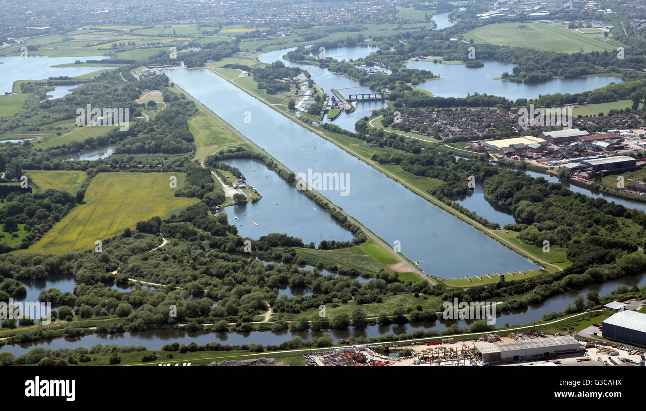 aerial view of Holme Pierrepont National Watersports Centre in Nottingham, UK - Stock Image
