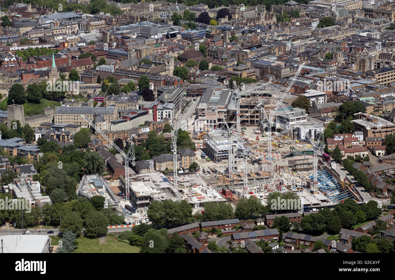 aerial view of construction work on the Westgate Centre Development in Oxford, UK - Stock Image
