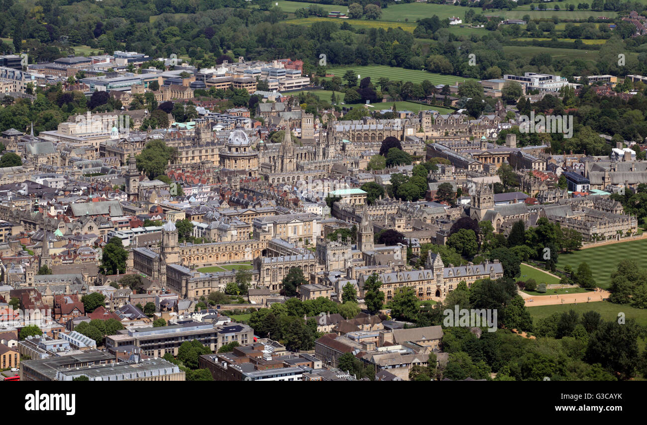 aerial view of the Oxford skyline, showing various University colleges, UK - Stock Image