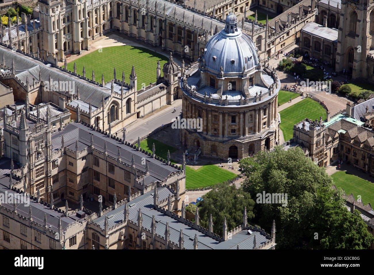 aerial view of the Radcliffe Camera & Bodleian Library, Oxford University, UK - Stock Image