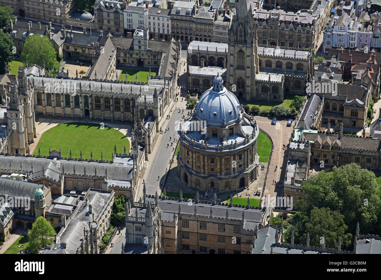 aerial view of The Bodleian & Codrington Library & Radcliffe Camera, and All Souls College, Oxford University, - Stock Image