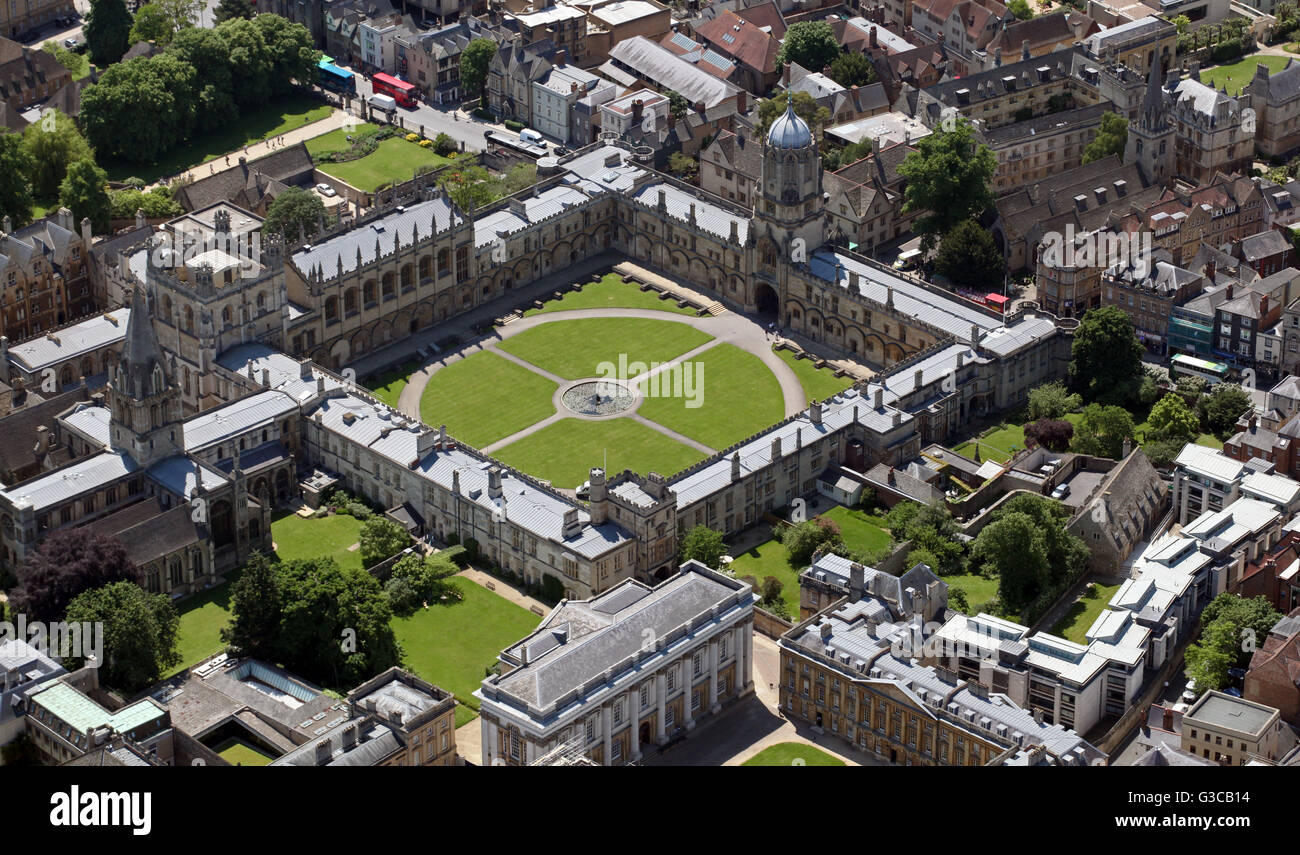 aerial view of Christ Church College University, Oxford, UK - Stock Image