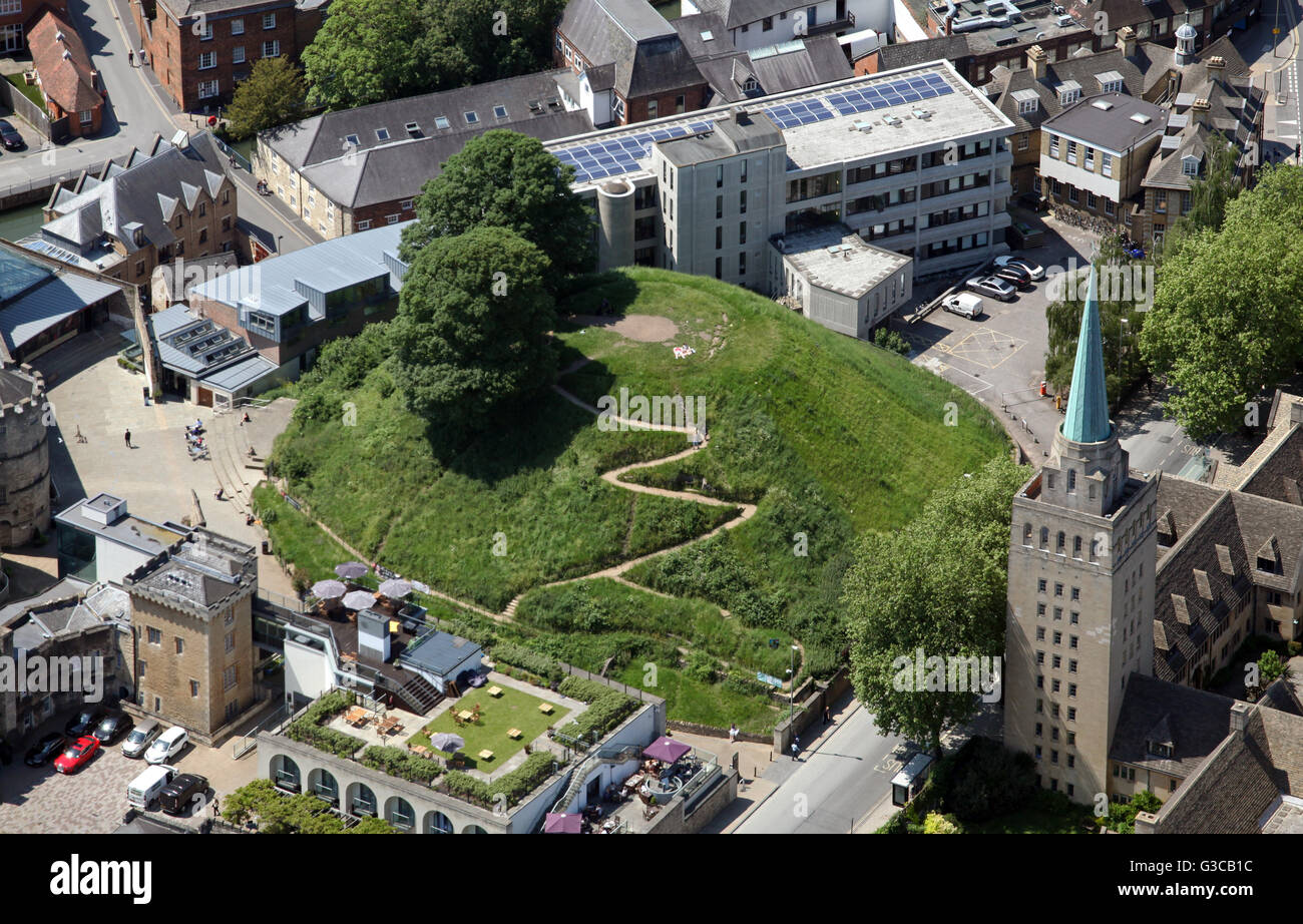 aerial view of Oxford Castle Mound, UK - Stock Image