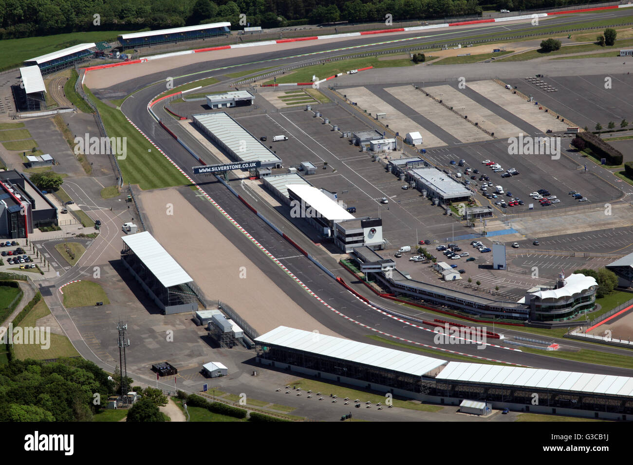 aerial view of the home straight start finish line at Silverstone Racing Circuit, Northamptonshire, UK - Stock Image