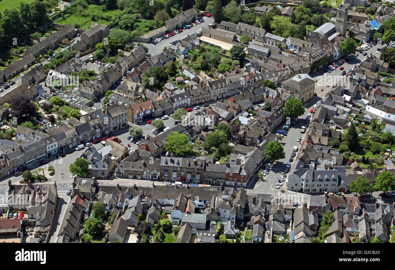 aerial view of Woodstock village in Oxfordshire, England, UK - Stock Image