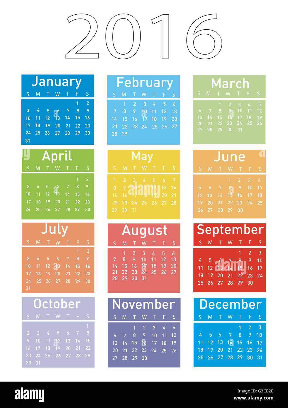 Vector illustration of a modern and simple calendar 2016 - Stock Image