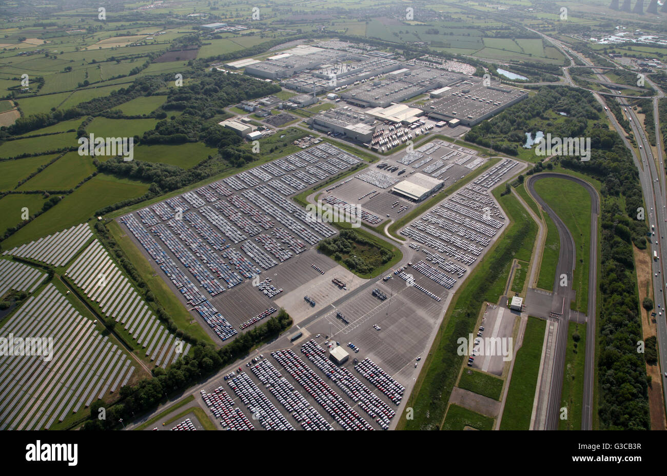 aerial view of Toyota Motor Manufacturing car production plant bear Derby, UK - Stock Image