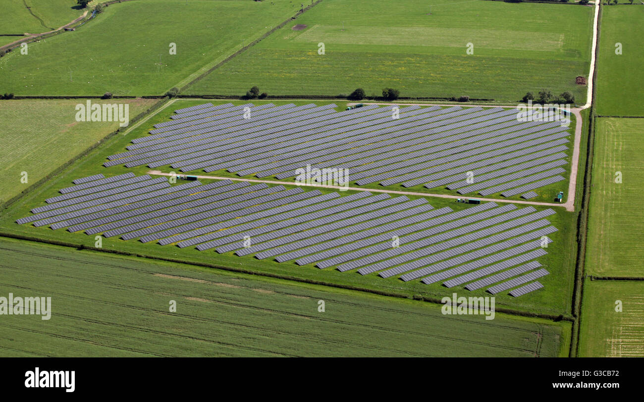 aerial view of a solar farm, UK - Stock Image