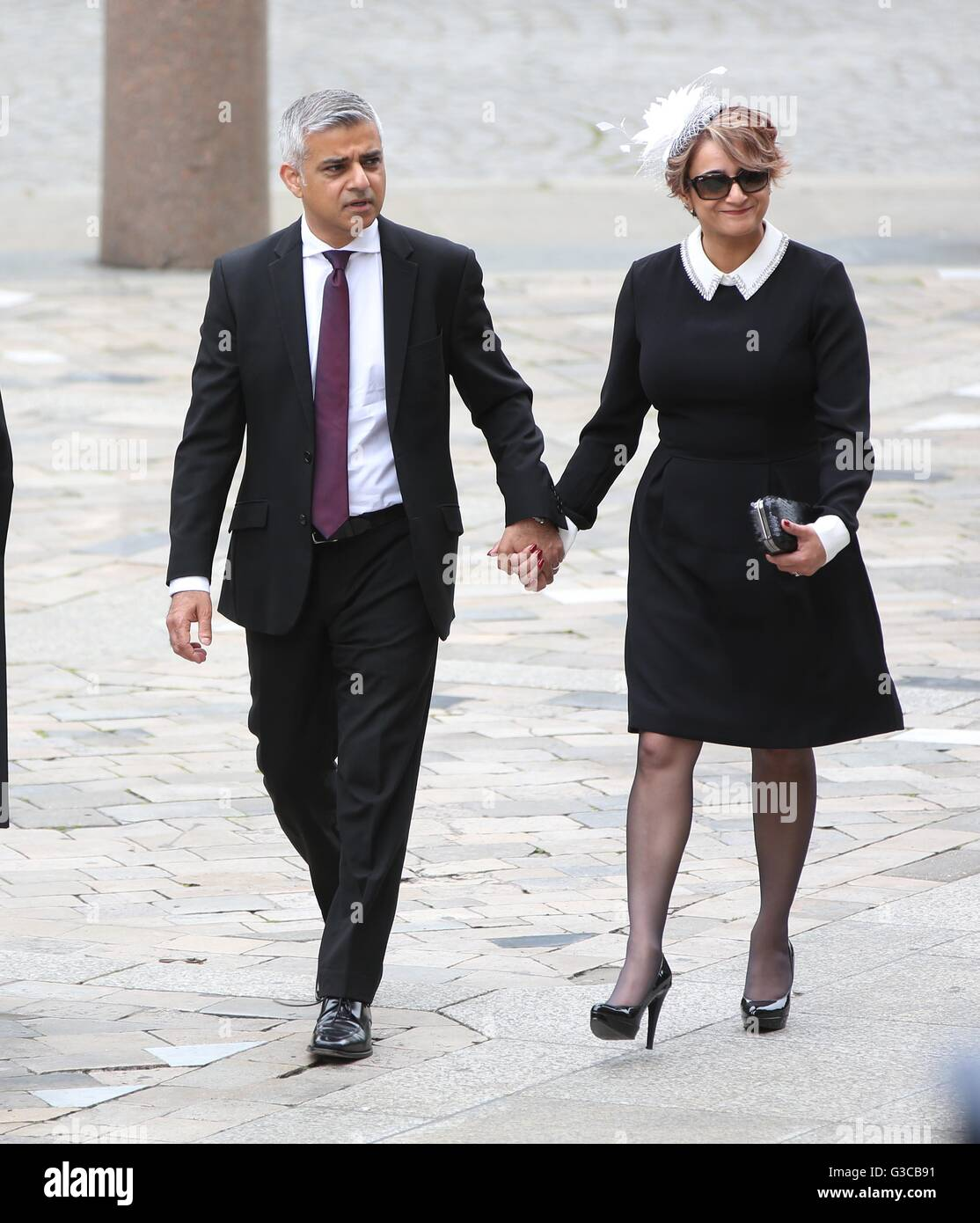 Mayor of London Sadiq Khan and wife Saadiya arrives at St Paul's Cathedral in London for a national service - Stock Image