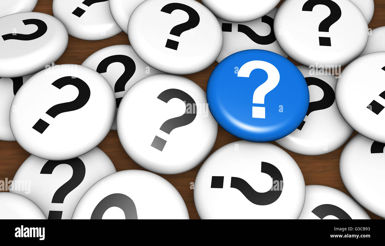 Question mark icon and symbol on pin badges business customer questions concept 3d illustration. - Stock Image