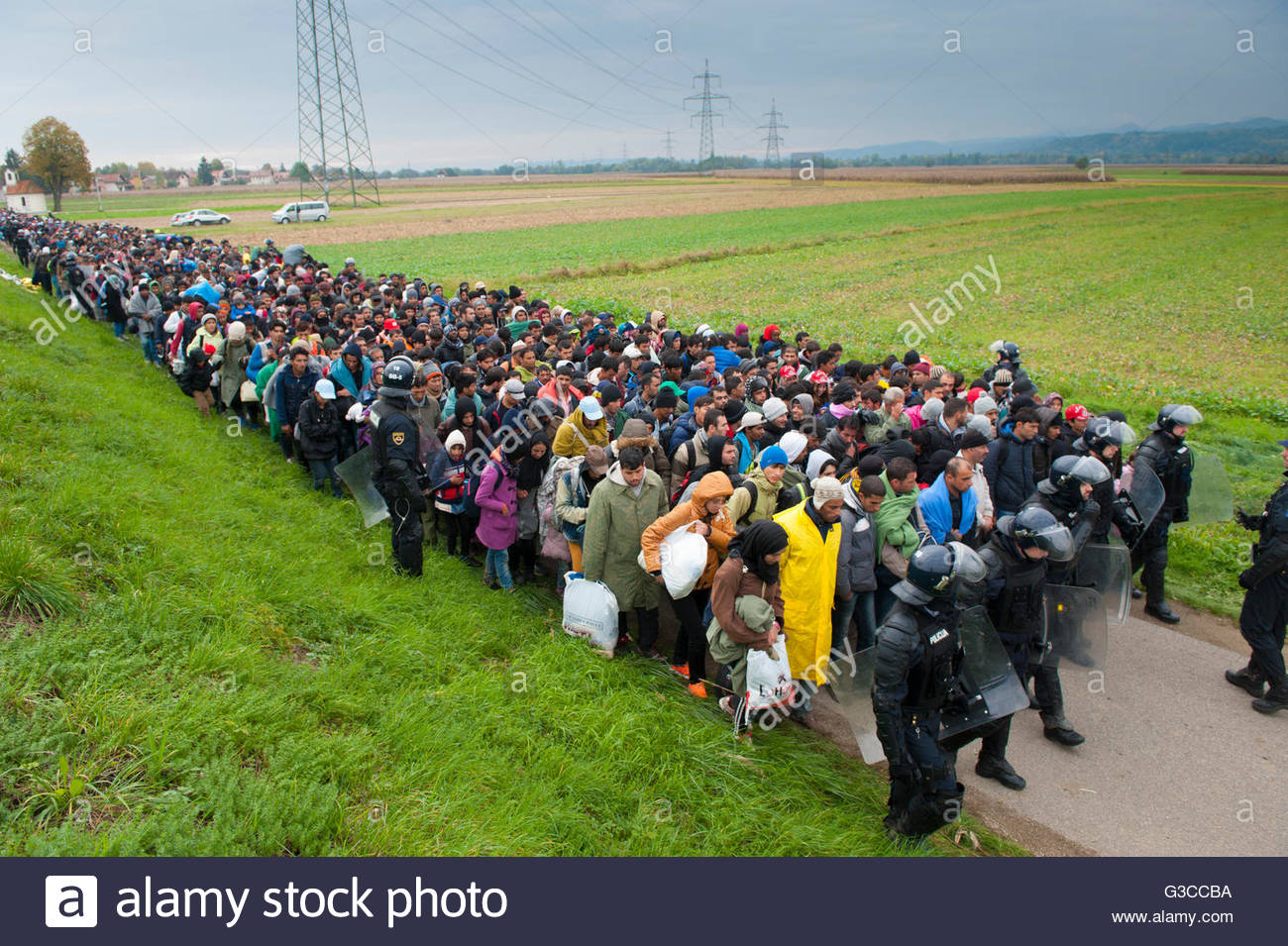 Syrian refugees arriving from Croatia,rigonze,Slovenia,22.10.2015 - Stock Image