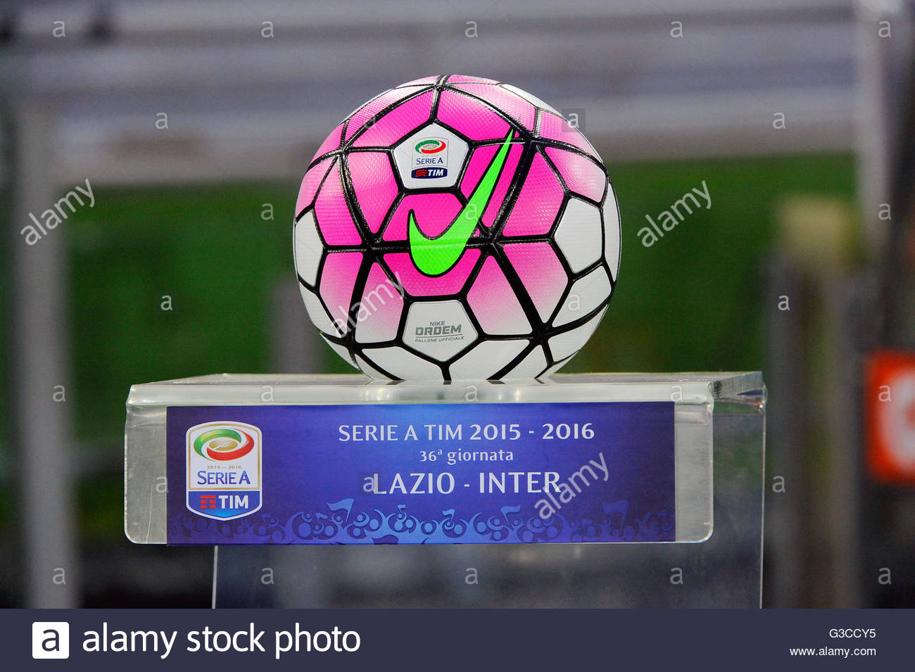 balloon official match S.S. Lazio vs Inter,the football championship series in May 1,2016 Rome Olympic Stadium - Stock Image