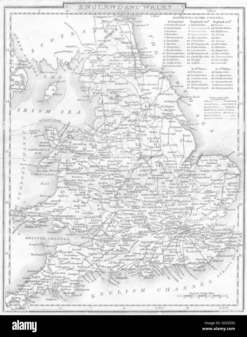 UK: England and Wales. DUGDALE, 1845 antique map - Stock Image