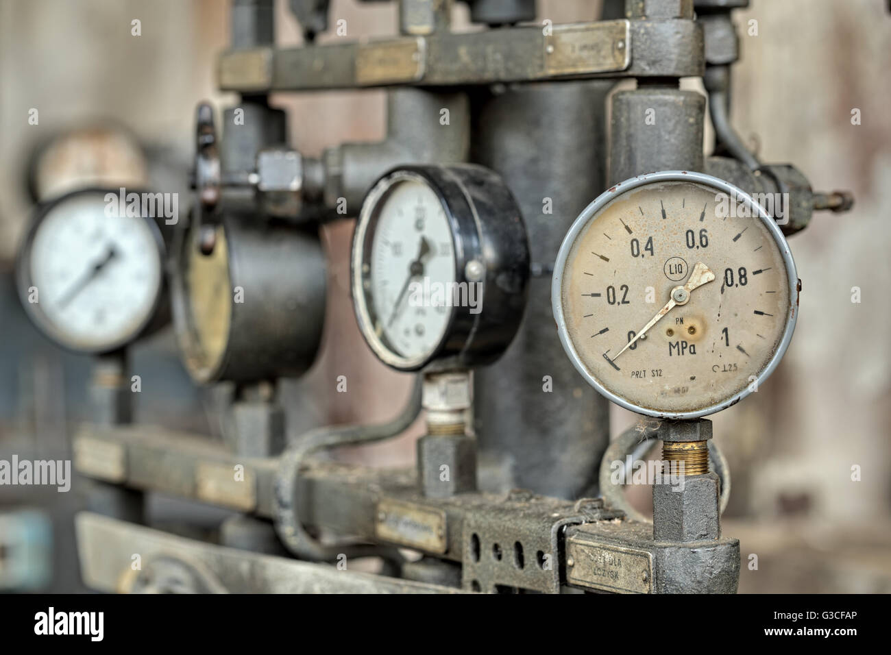 Indicators for the measurement in an old factory.Natural HDR - high dynamic range - Stock Image